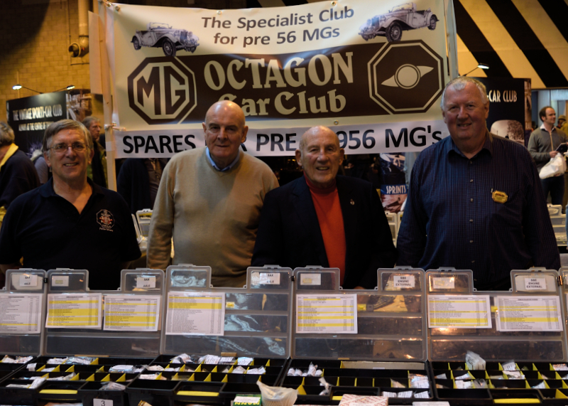 Stirling Moss visiting The MG Octagon Stand Classic Car Show  2014